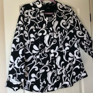 Womens Lane Bryant Button Down Top V Neck  Size 16